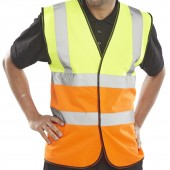 Two Tone Hi-Vis Waistcoat / Vest (Yellow / Orange) (10 Pack)