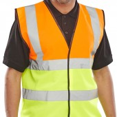 Two Tone Hi-Vis Waistcoat / Vest (Orange / Yellow) (10 Pack)