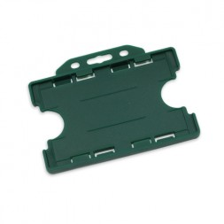 Landscape Double Sided Rigid ID Card/Badge Holder (Green)