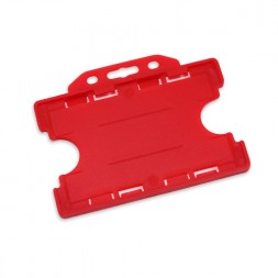 Landscape Double Sided Rigid ID Card/Badge Holder (Red)